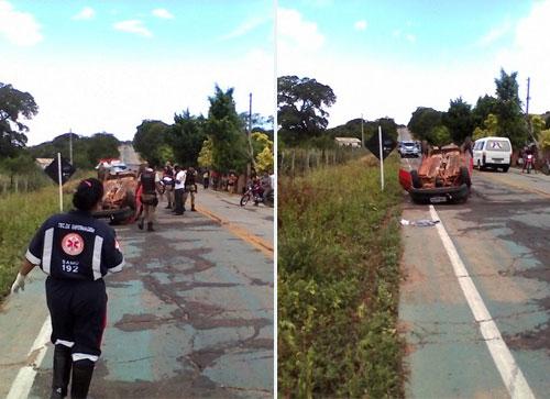 Grave acidente: Carro capota na saída de Livramento para Rio de Contas com quatro pessoas á bordo
