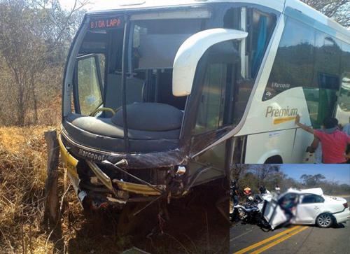 Duas pessoas morrem em grave acidente entre carro e ônibus da Gontijo
