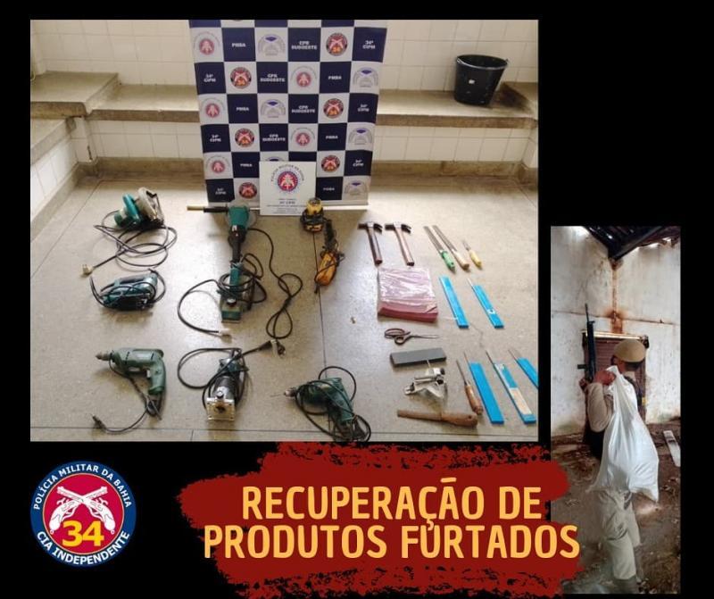 Brumado: PM recupera produtos oriundos furtados em carpintaria no bairro São Félix