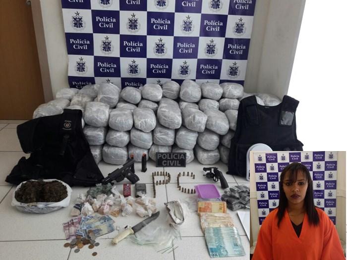 Bahia: Mulher é presa com 105 quilos de maconha e duas armas em Porto Seguro