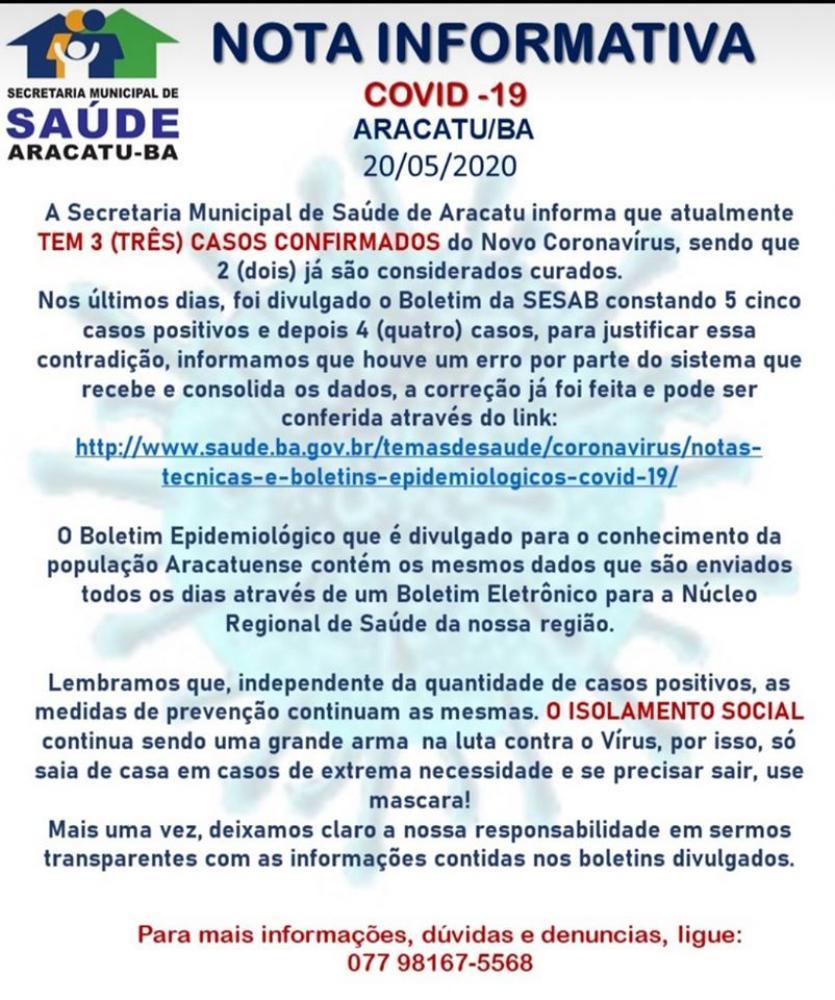 Prefeitura de Aracatu emite nota informativa