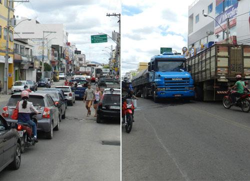 Carreta quebra e obstrui trânsito em uma das principais Avenidas do centro