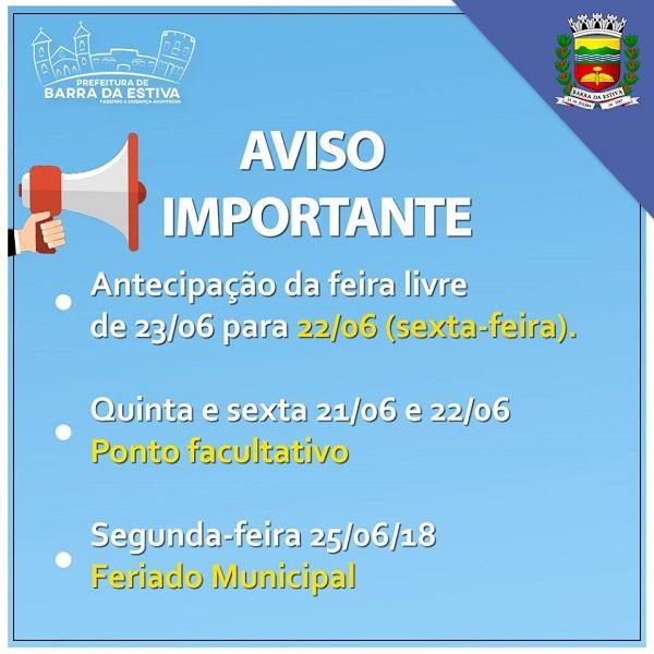 Prefeitura de Barra da Estiva informa antecipação da feira livre, ponto facultativo e feriado municipal; confira datas