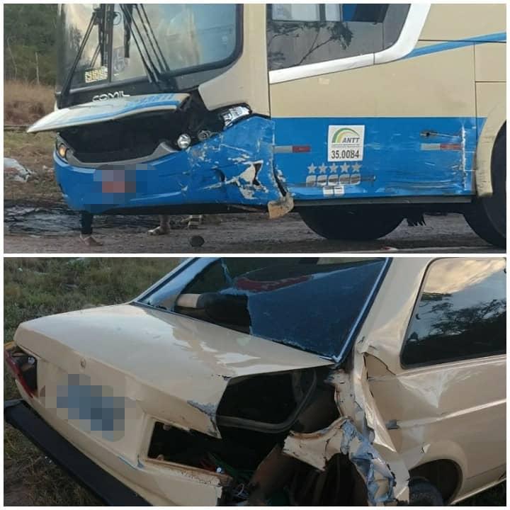 Acidente envolvendo ônibus e carro é registrado na BR-030 em Brumado
