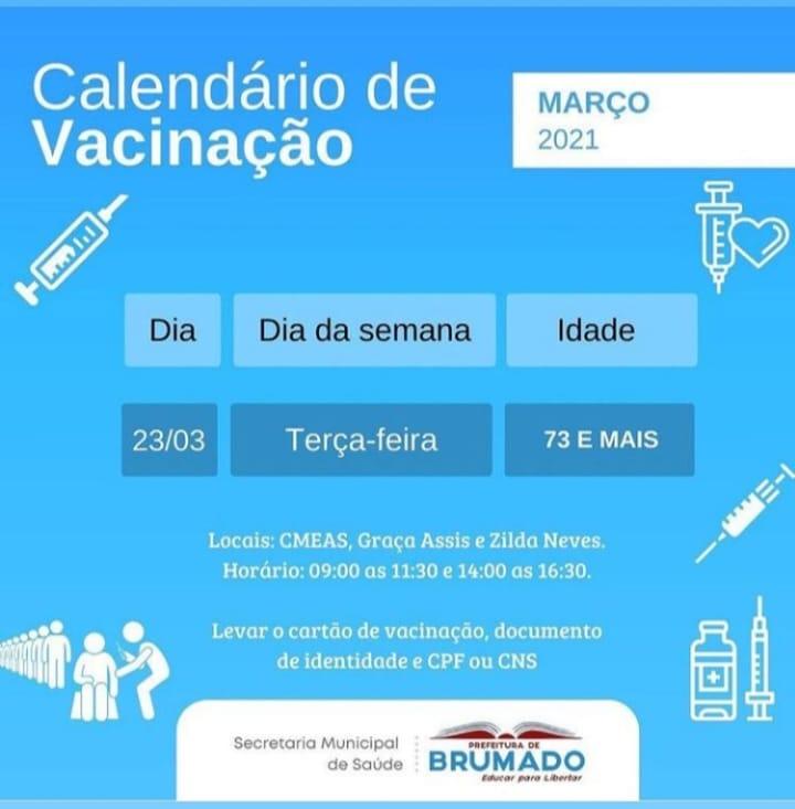Covid-19: Secretaria de Saúde divulga novo calendário de vacinação