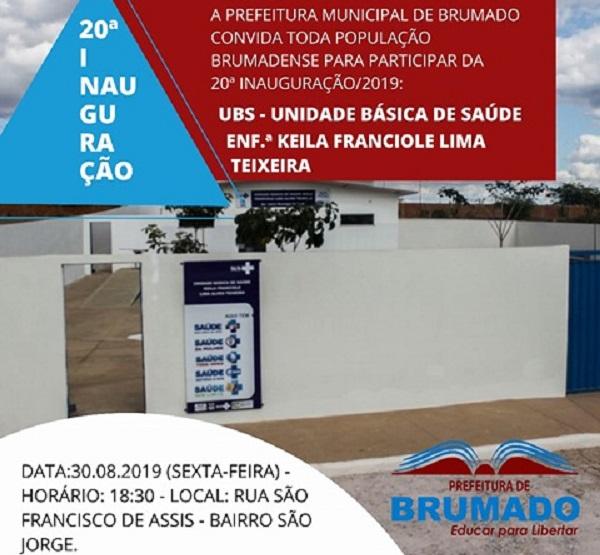 UBS do Bairro São Jorge será inaugurada hoje (30); esta é a 20ª inauguração da prefeitura de Brumado em 2019