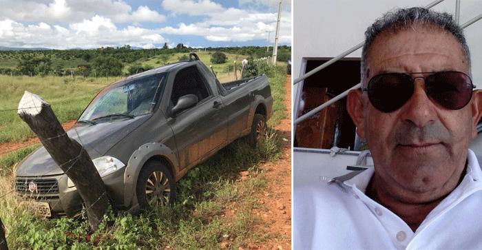 Homem é encontrado morto com marcas de tiros em Livramento; veículo colidiu contra cerca