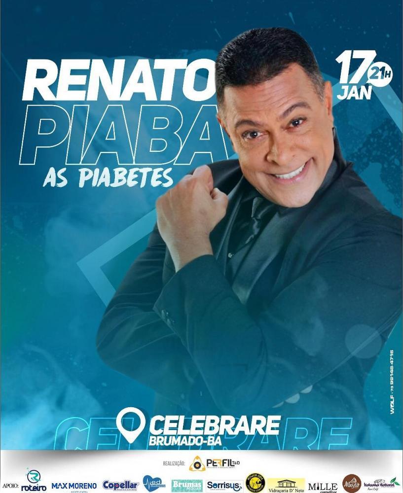Show com o humorista Renato Piaba será realizado no Espaço Celebrare em Brumado