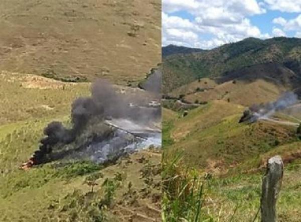 Carro pega fogo ao cair em ribanceira na Serra do Marçal