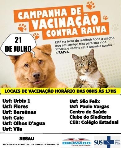 Programação: Campanha de vacinação contra Raiva - Cães e Gatos a partir de 03 meses de idade