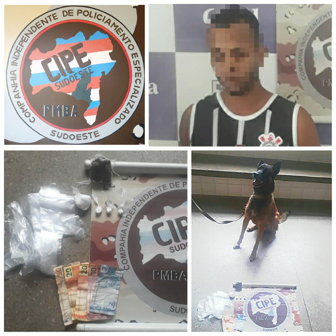 Brumado: Com ajuda de cão farejador, Polícia prende homem por tráfico de drogas no bairro São Félix