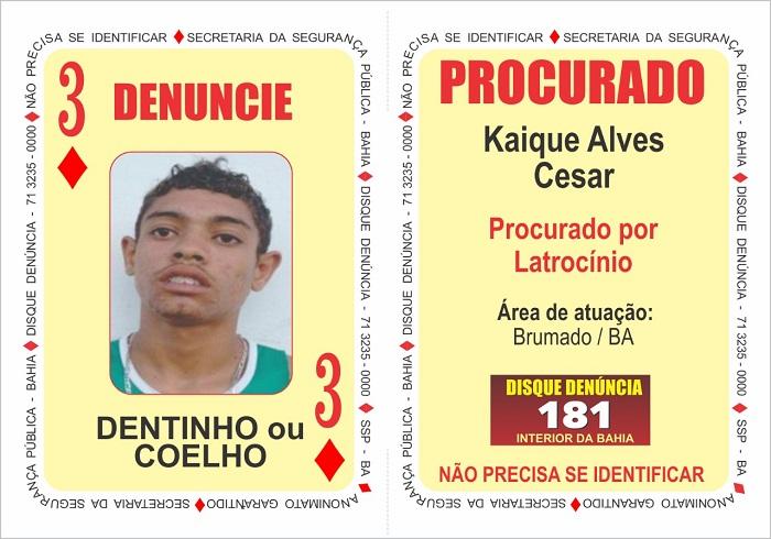 Bandido com atuação na região de Brumado é inserido no 'Baralho do Crime' da Secretaria de Segurança Publica da Bahia