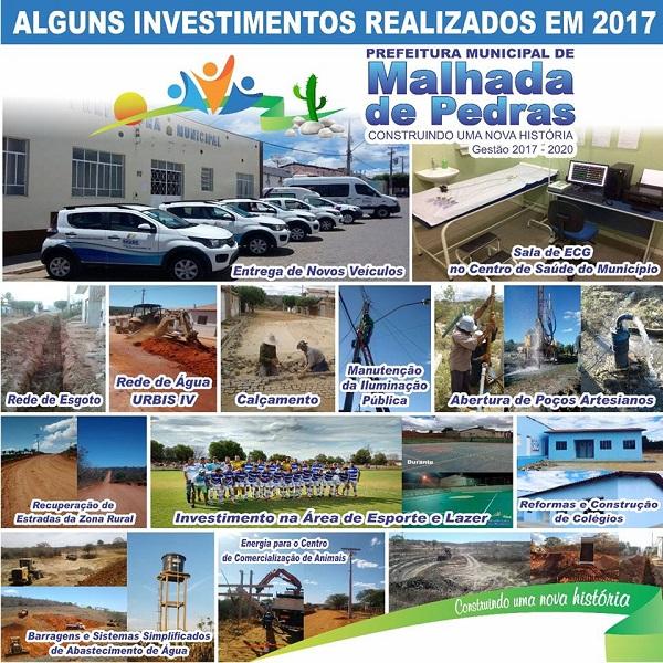 Prefeitura de Malhada de Pedras apresenta alguns de seus investimentos em 2017