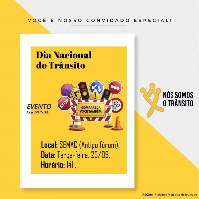 Evento Cerimonial do Dia Nacional do Trânsito será realizado hoje em Brumado