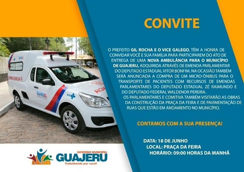 Prefeitura de Guajeru convida população para ato de entrega de uma nova ambulância