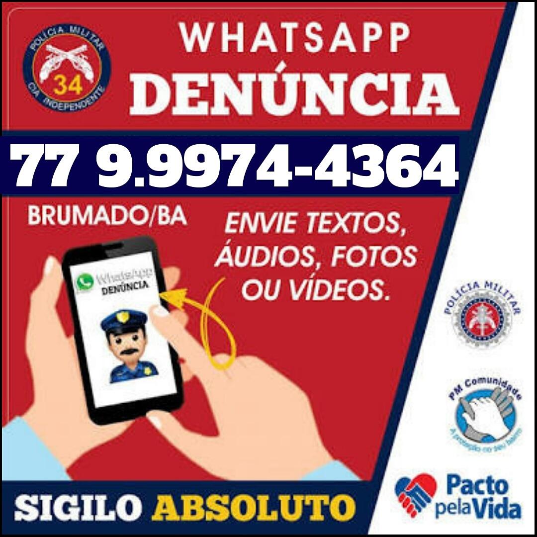 Polícia Militar de Brumado divulga novo Whatsapp  para denúncias; sigilo é garantido