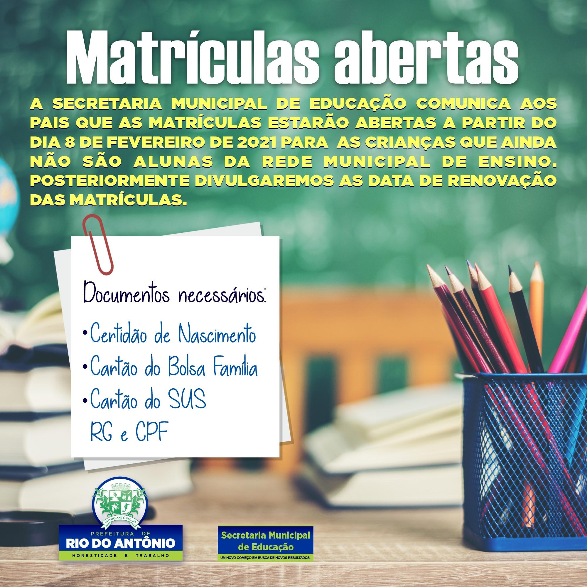 Rio do Antônio: Matrículas para ingresso na rede municipal de ensino terão início na segunda (08)