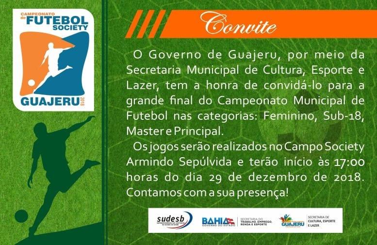 Grande final do Campeonato de Futebol Society será realizada em Guajeru