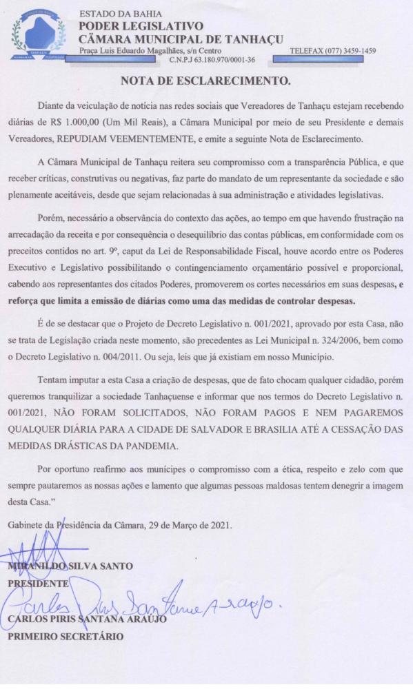 CÂMARA DE TANHAÇU REAJUSTA DIÁRIAS DE VEREADORES QUE CHEGA A ATÉ MIL REAIS, PRESIDENTE EMITE NOTA DE ESCLARECIMENTO