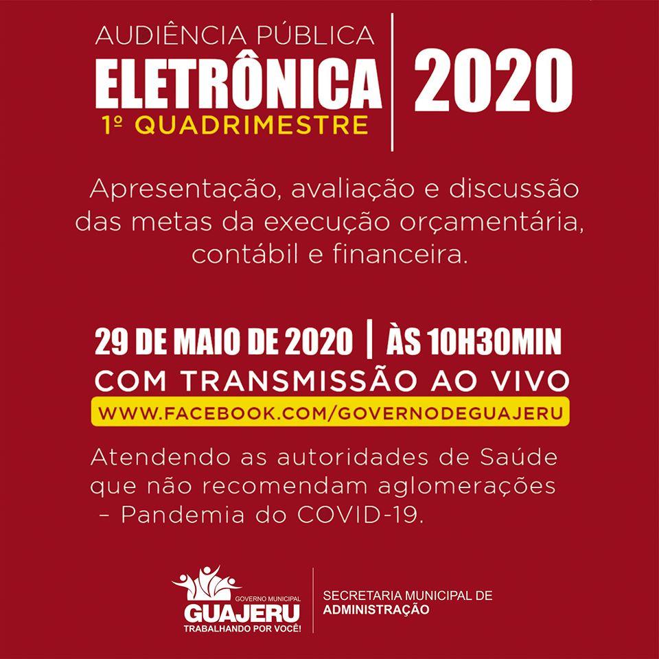 Guajeru: Prefeitura realizará Audiência Pública Eletrônica