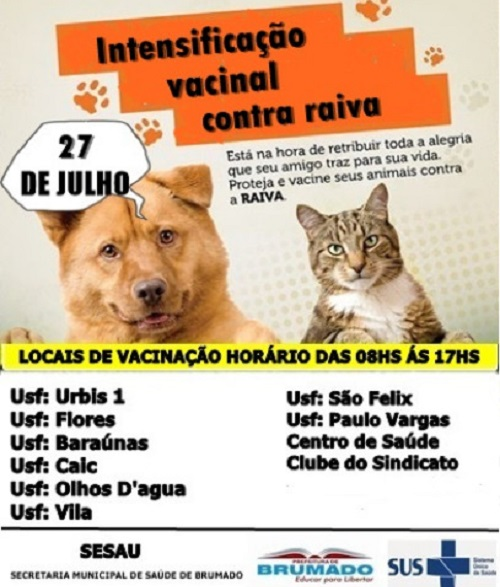 Brumado: Dia 27 de julho é dia de intensificação da vacinação contra a raiva canina e felina
