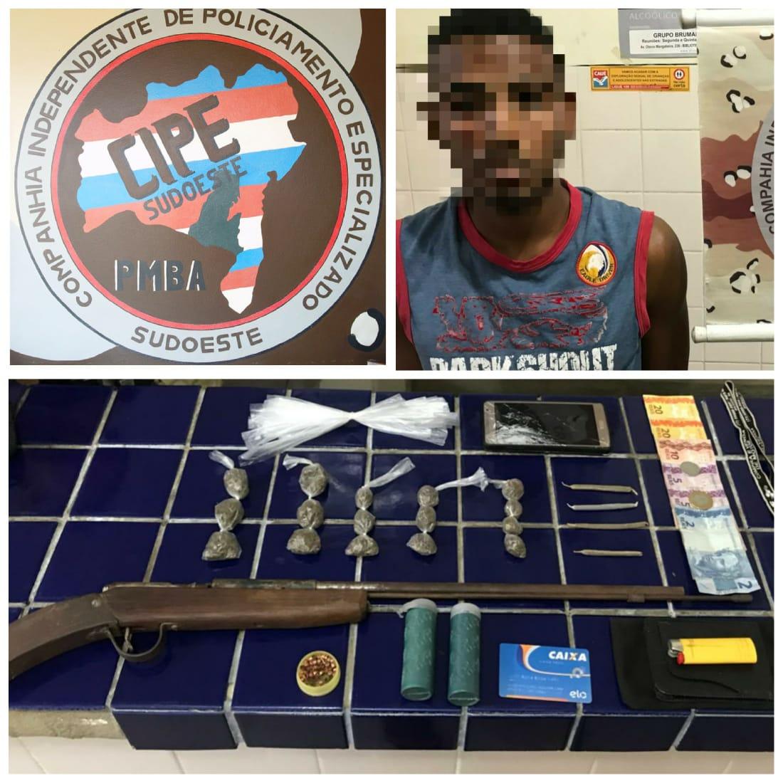 Homem é preso com drogas pela Cipe Sudoeste em Aracatu