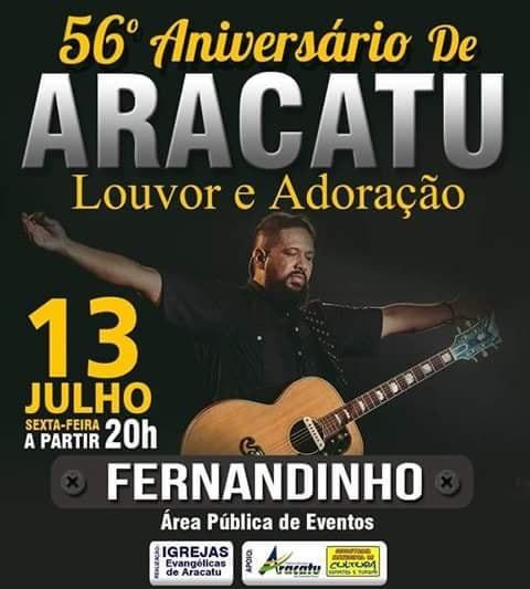 56º aniversário de Aracatu será comemorado com muito louvor e adoração; confira