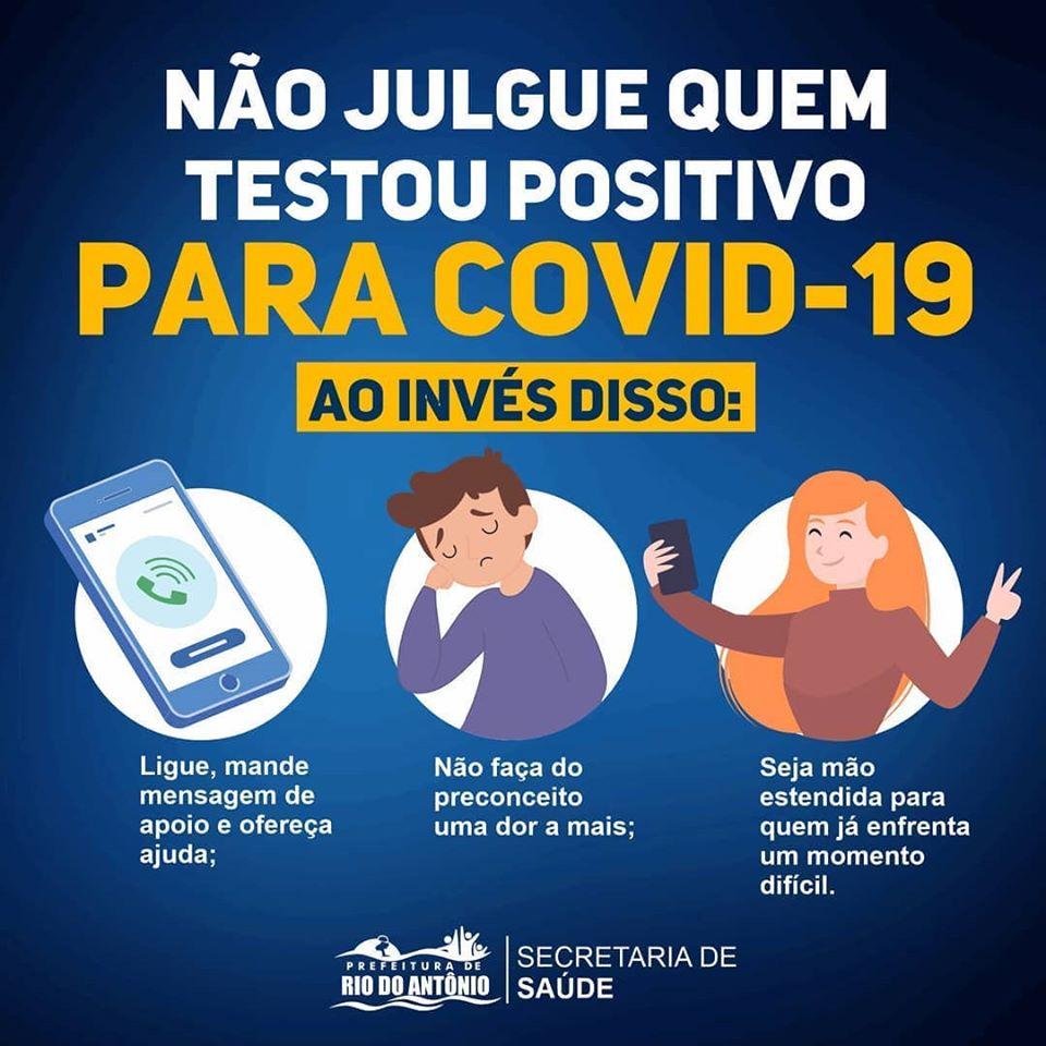 Prefeitura de Rio do Antônio lançou campanha para que a população não julgue quem testou positivo para Covid-19
