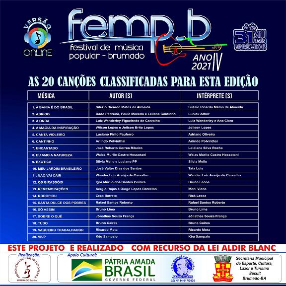 Bumado: Confira as 20 canções classificadas para o FEMP-B 2021
