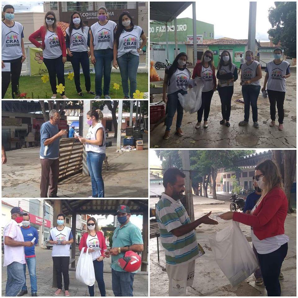 CRAS de Aracatu  distribui máscaras e álcool em gel  em  campanha de prevenção a Covid-19