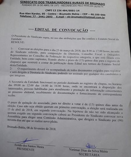 Eleições do Sindicato dos Trabalhadores Rurais de Brumado acontecem no próximo mês; confira