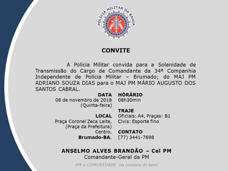 Polícia Militar realizará transição de comando da 34ª CIPM nesta quinta-feira (08)