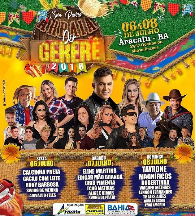 Agora é oficial: Divulgadas as atrações para o Arraiá do Gererê, no São Pedro de Aracatu