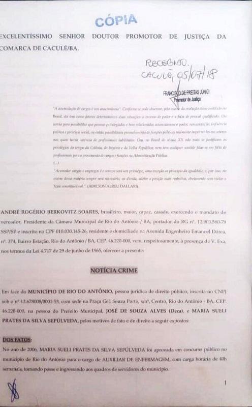 Presidente da Câmara de Rio do Antônio protocola denúncias contra prefeitura no MP de Caculé