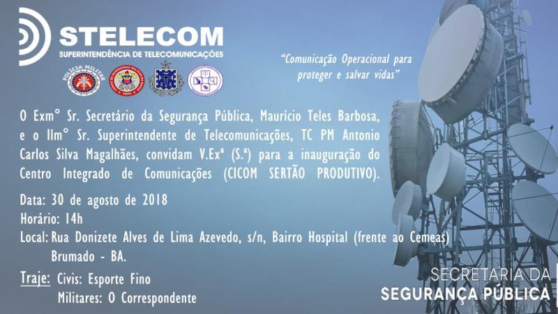 Secretário de Segurança Pública do Estado participará de inauguração  do CICOM em Brumado