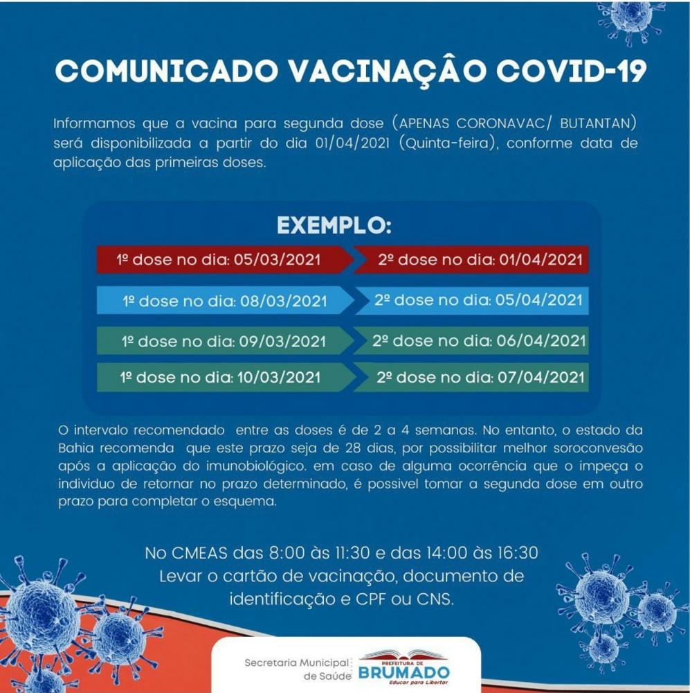 Brumado: Confira programação para vacinação 2ª dose Covid-19