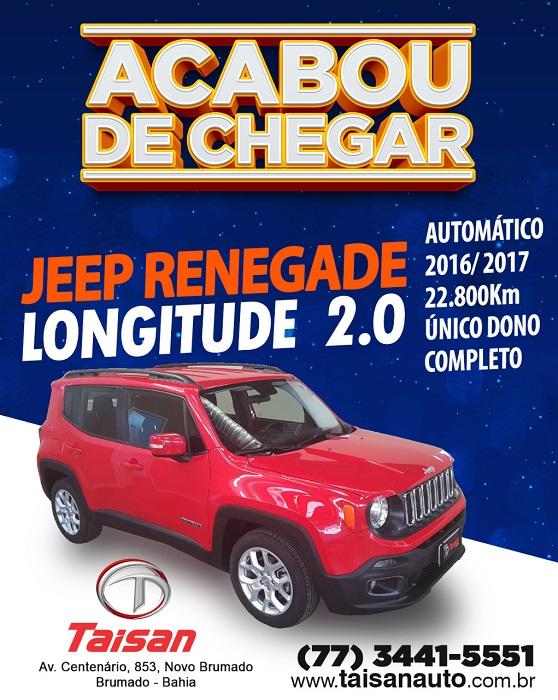 Jeep Renegade Longitude 2.0 acaba de chegar na Taisan Auto em Brumado