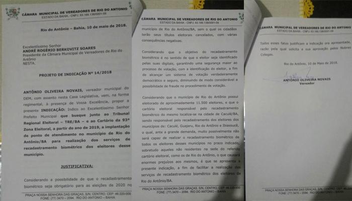 Zico solicita implantação de Ponto de Atendimento do Forum Eleitoral em Rio do Antônio