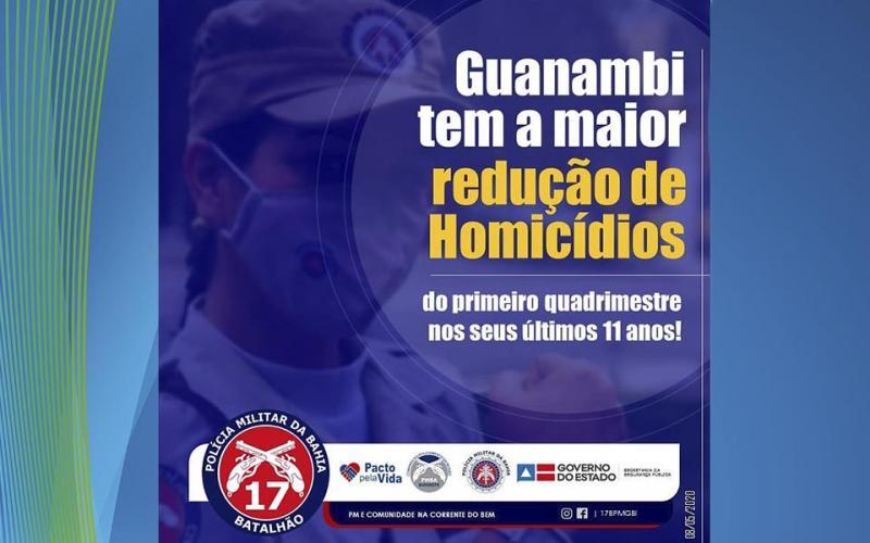 Guanambi tem a maior redução de homicídios dos últimos 11 anos