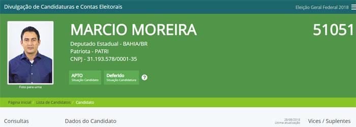 Eleições 2018: Justiça Eleitoral defere candidatura de Márcio Moreira