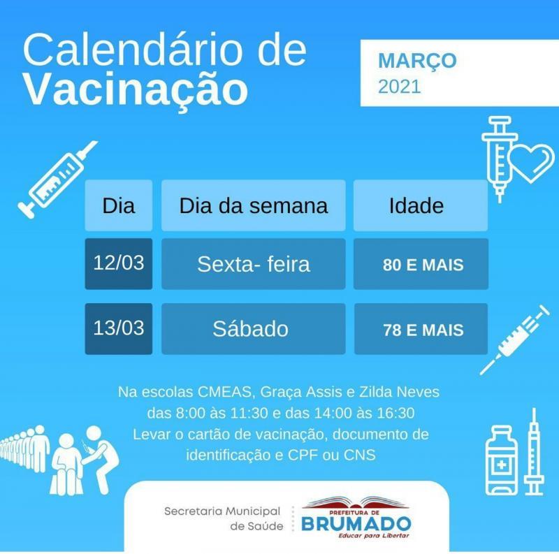 Brumado: Divulgado novo calendário de vacinação contra Covid-19