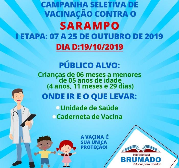 Prefeitura de Brumado realiza Campanha Seletiva contra o Sarampo; Dia D será nesse sábado (19)