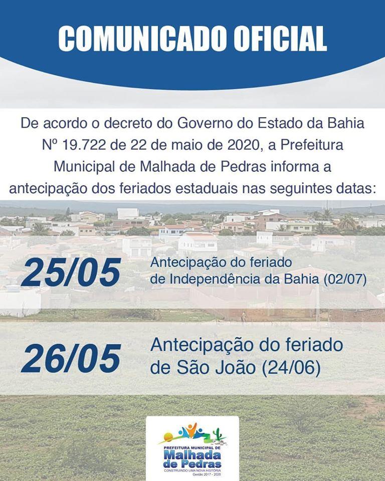 Prefeitura de Malhada de Pedras informa sobre antecipação de feriados