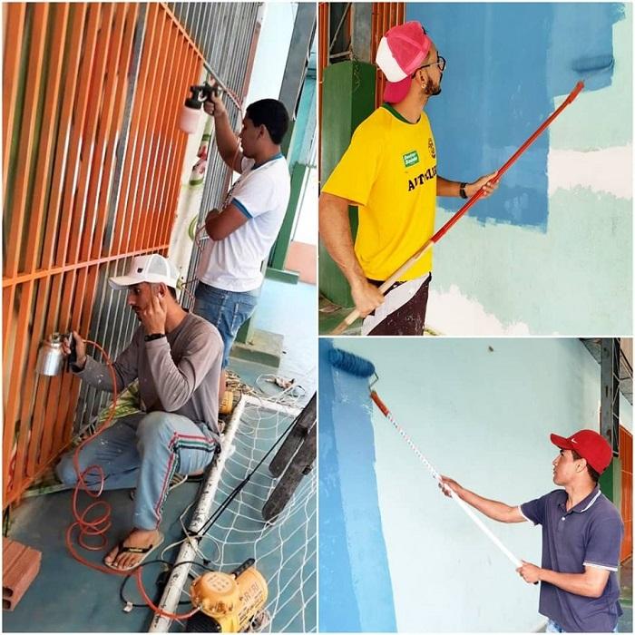 Aracatu: Ginásio de Esportes recebe manutenção, pintura e retoque