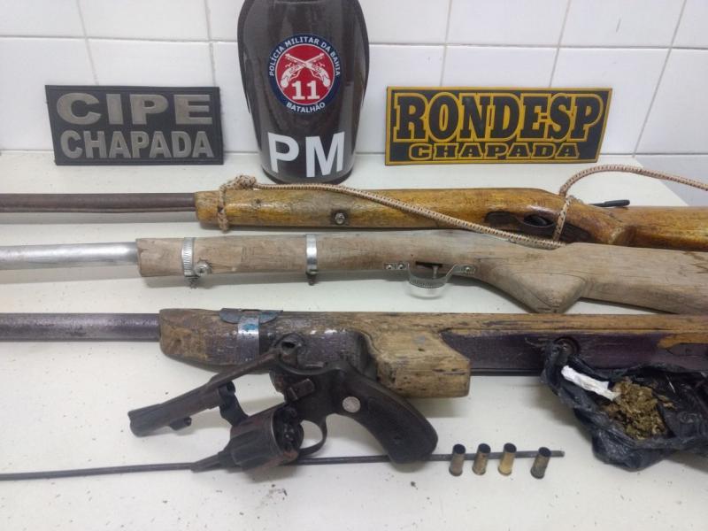 Ação integrada apreende quatro espingardas e um revólver na Chapada Diamantina: Uma pessoa morreu