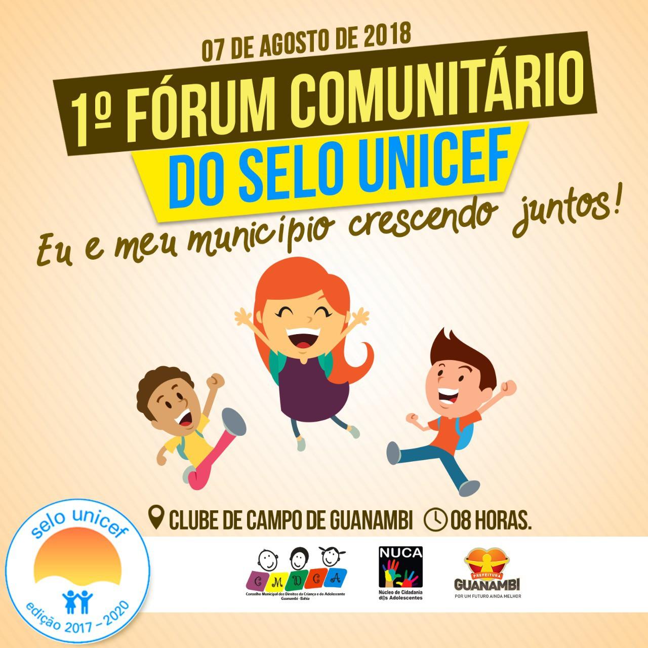 Guanambi realiza na próxima terça, o 1º Fórum Comunitário do Selo UNICEF