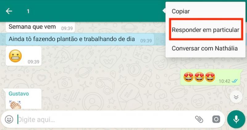 Atualização do WhatsApp permite responder mensagens de grupo em particular