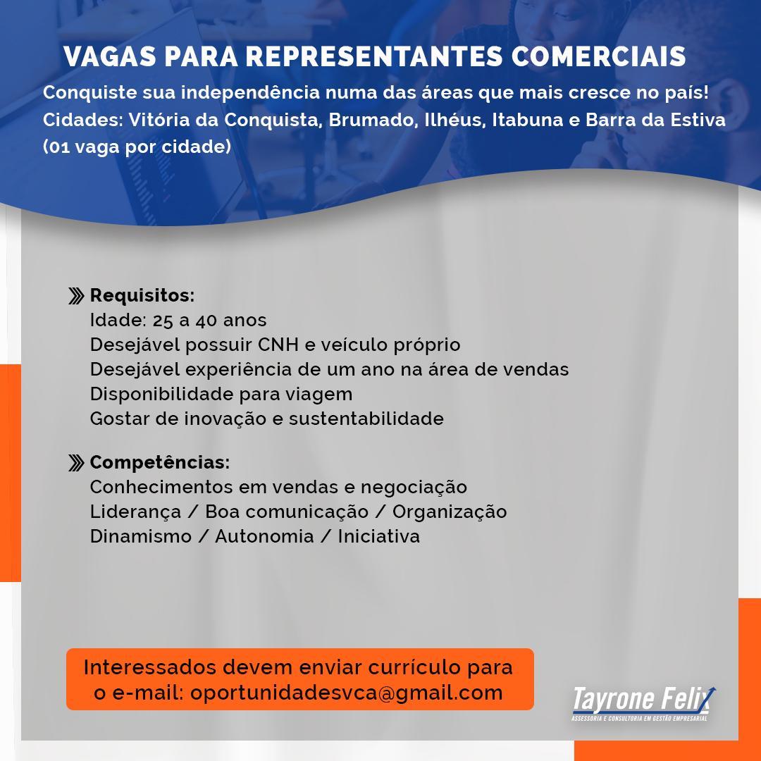 Oportunidade: Vagas para Representante Comercial
