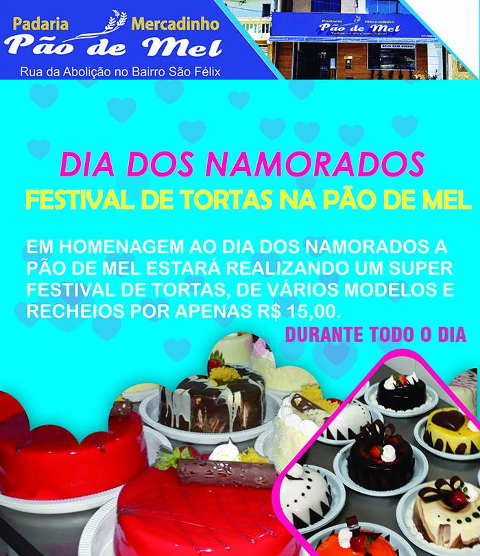 Brumado: Participe do grande Festival de Tortas no Dia dos Namorados na Pão de Mel