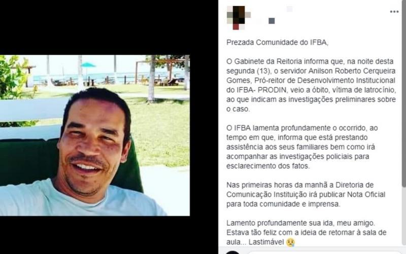 Adolescente suspeito de matar pró-reitor do IFBA se entrega à polícia e confessa crime